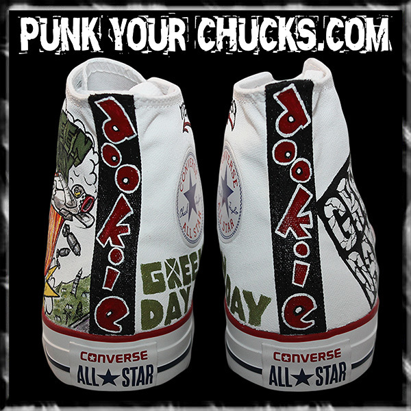 Green Day WHITE DOOKIE High Chucks spine