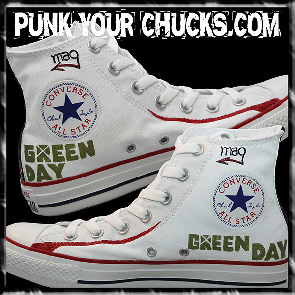 Green Day WHITE DOOKIE High Chucks insid