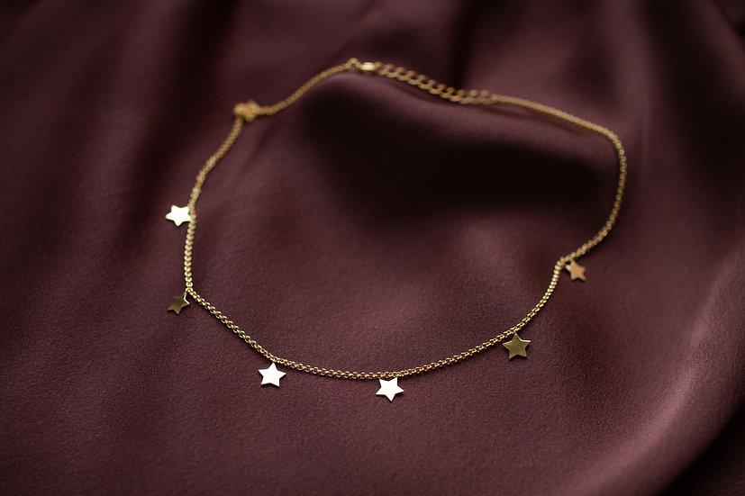 Чокер с плоскими звездами