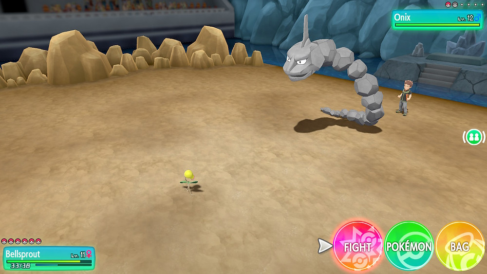 Pokemon Let's Go - Bellsprout vs. Onix
