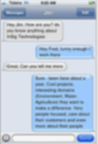 Screenshot of text messages talking about InSig Technologies