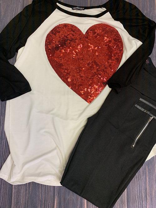 Sequin Heart Baseball T-shirt