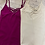 Thumbnail: Basic Soft Tank Top with Crisscross Neckline in Magenta and Off White