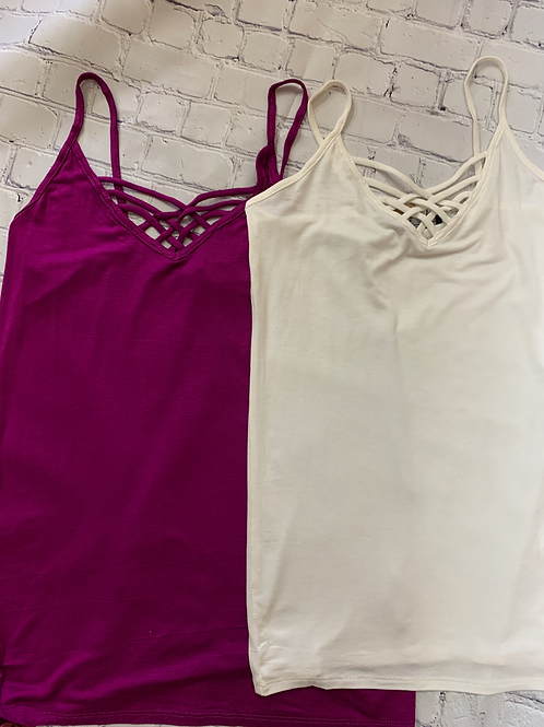 Basic Soft Tank Top with Crisscross Neckline in Magenta and Off White