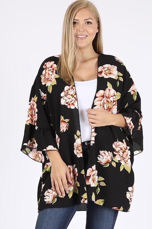 Plus size Black Kimono with Floral Print