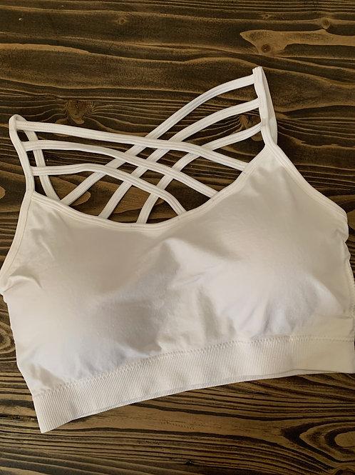 White Seamless Triple Crisscross Padded Bralette