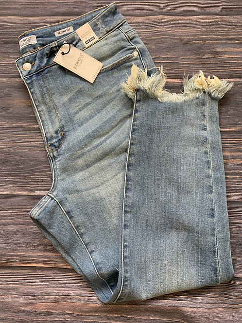 Plus Size Judy Blue Shark Bite Frayed Hem Skinny Jeans