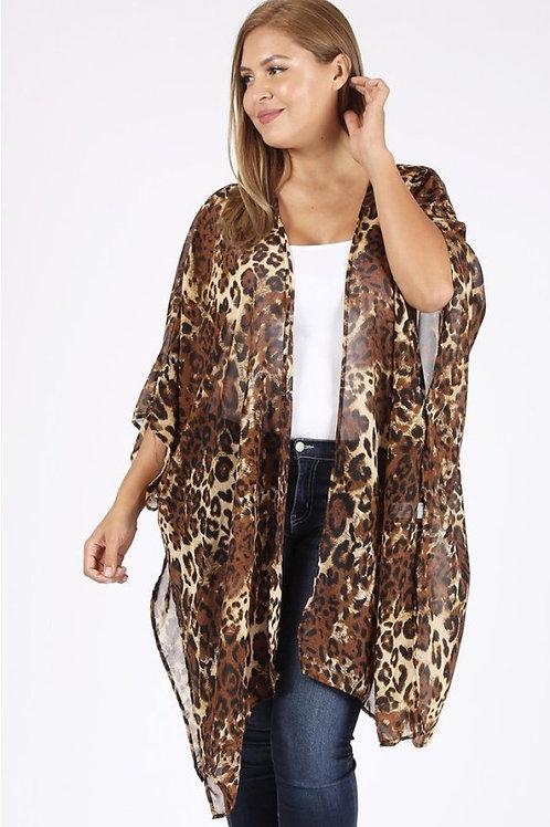 Plus Size Leopard Print Kimono