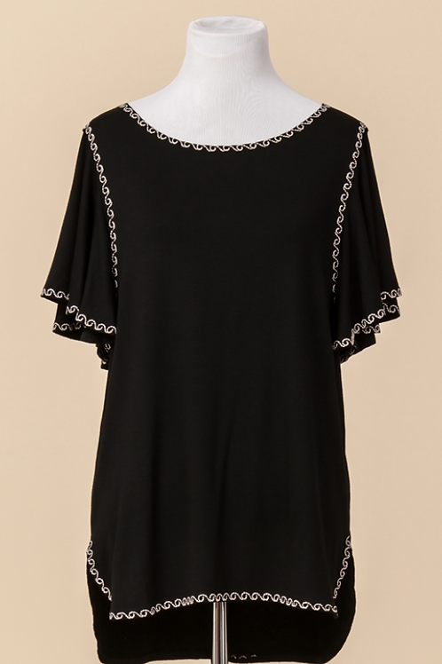 Black Top with Rose Gold Stitching Around Edges and Loose Flowy Sleeves