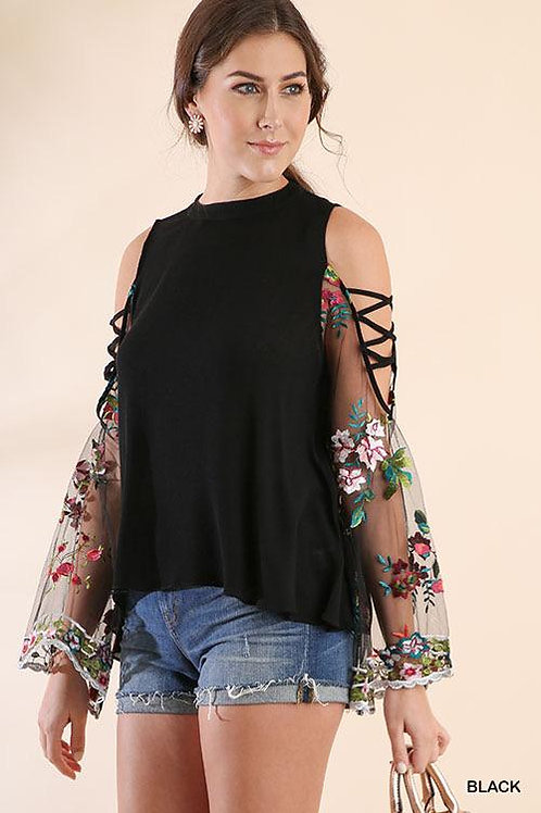 Black Cold Shoulder Top with Embroidered Sheer Sleeve Detail