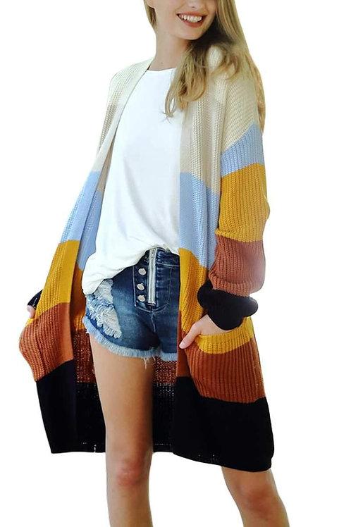 Long Sleeve Rainbow Color Block Sweater Cardigan