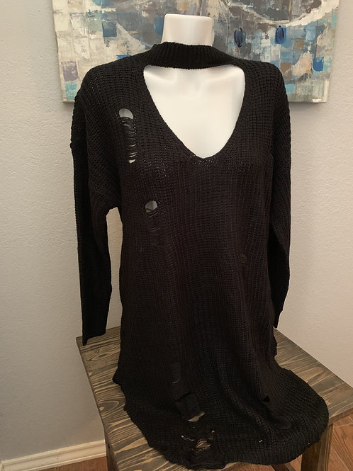 Plus Size Black Sweater with Frayed Accents and Keyhole Neckline