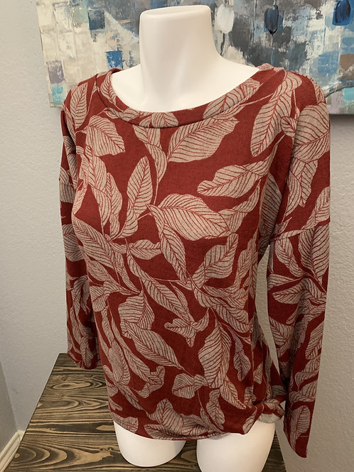 Plus Size Burgundy with Gray Leaves Long Sleeve Top Tie on Side