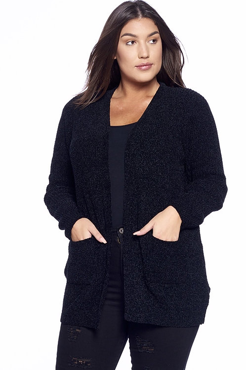 Plus Size Black Cardigan Sweater with Pockets