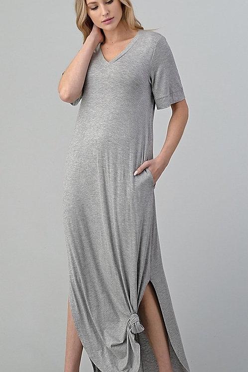 Plus Size Heather Grey T-shirt Dress with Pockets