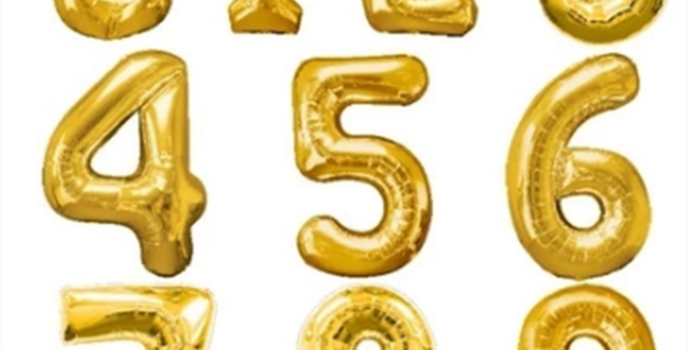 """Gold numbered balloons 34"""""""