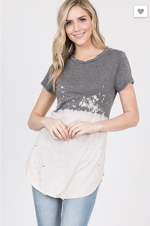 Distressed Bleach out Top Charcoal and Cream