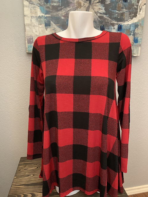 Black and Red Checkered Long Sleeve Top Buttons Down Back and Black Elbow Patche