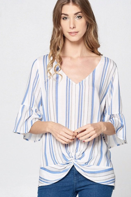 V-neck 3/4 inch sleeves White with light blue stripes