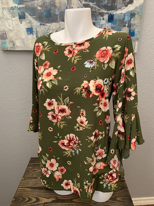 Plus Size Olive Green Floral Blouse with Flared Sleeve