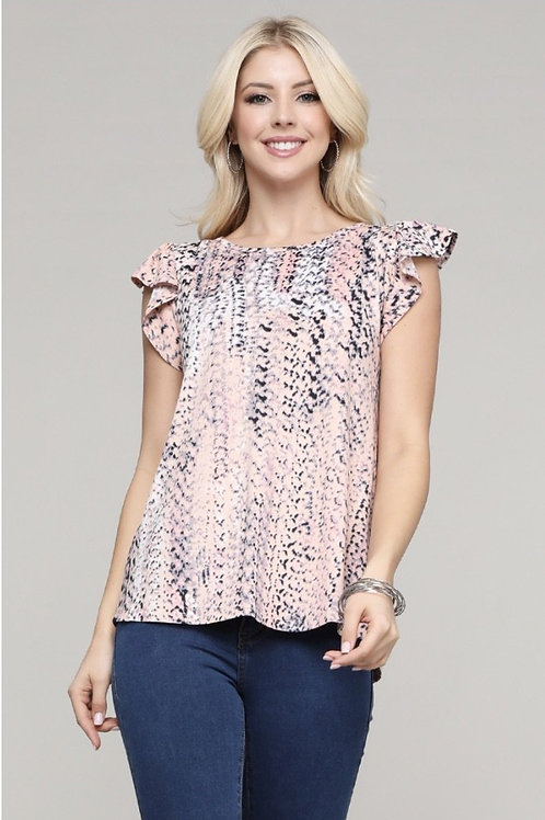 Peach and Coral Top with Loose Cap-Sleeve Plus Size