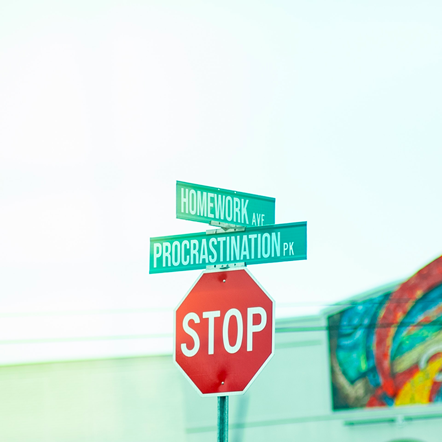Homework and Procrastination street signs above a stop sign.