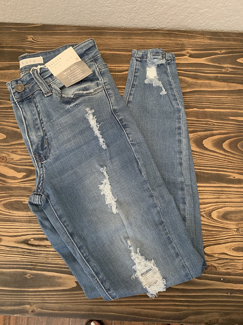 Mid-Rise Cropped Distressed Jeans