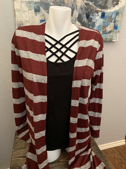 Burgundy and Gray Stripe Long Cardigan