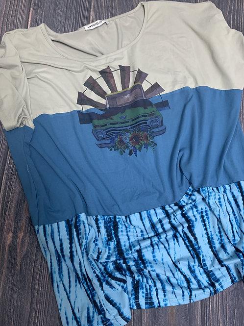 Navy Blue/Grey/Tie Dye Plus Size Top