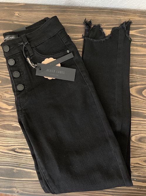 Black Button Fly Skinny Jeans with Frayed Hem