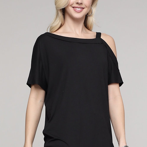 Plus Size Black one sided cold shoulder