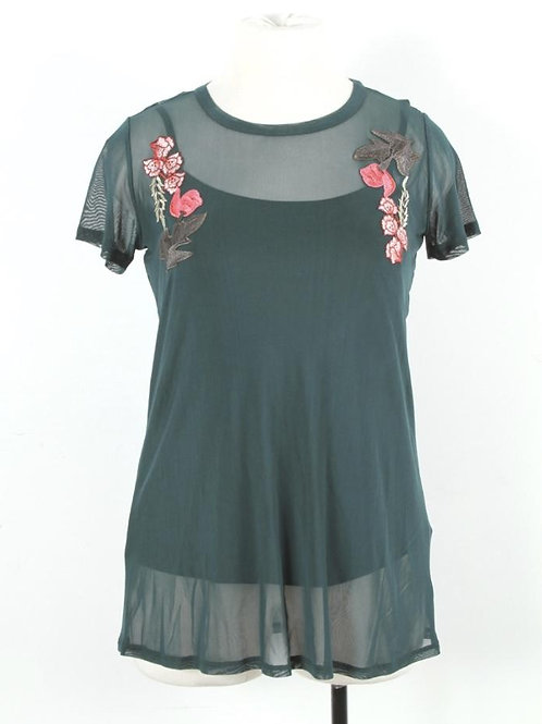 Deep Green Plus Size Mesh Top with Inner Cami and Flower Patched Accent