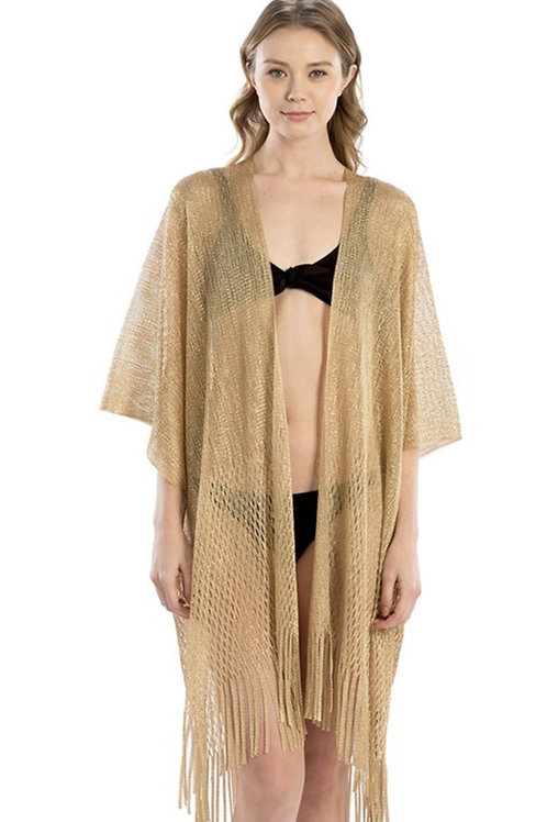 Metallic Net Shawl with Fringes One Size Fits Most