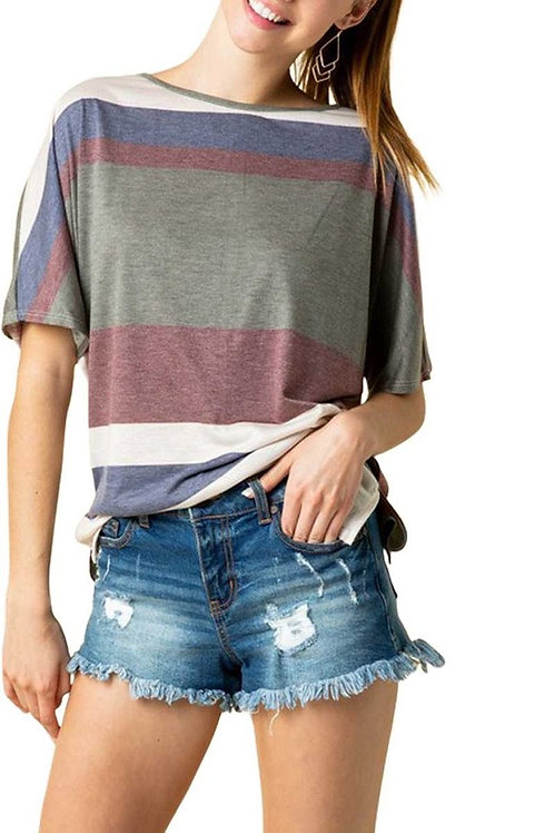 Multi Striped Short Sleeve High Low Tunic Top