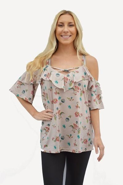 Cold Shoulder Blouse with Criss cross Front