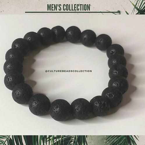 Black Lava Stone Men's Bracelet