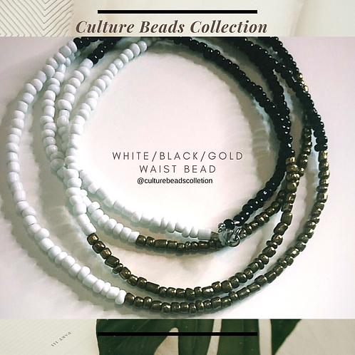 White Black Gold Waist Bead