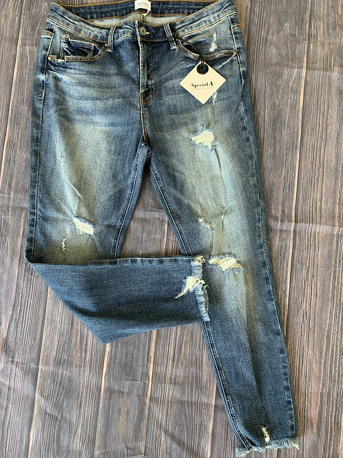 Plus Size High-rise Distressed Skinny Jeans