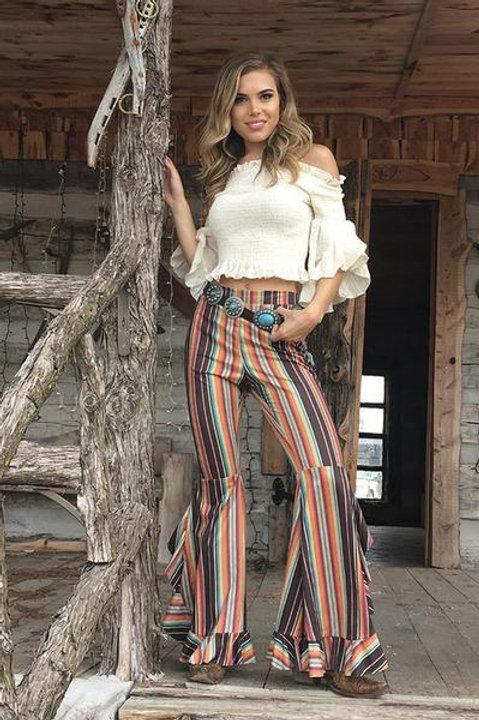 Multi Color Stripe Ruffled Bell Bottom Pants