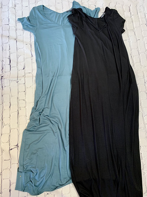 Basic Long T-Shirt Dress with Pockets in Teal and Black