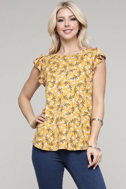 Mustard Floral Top with Loose Cap-Sleeves