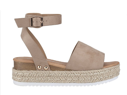 Taupe Wedge Open Toe Sandal