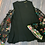 Thumbnail: Black Cold Shoulder Top with Embroidered Sheer Sleeve Detail