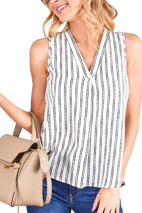 V-neck Striped Sleeveless High Low Top