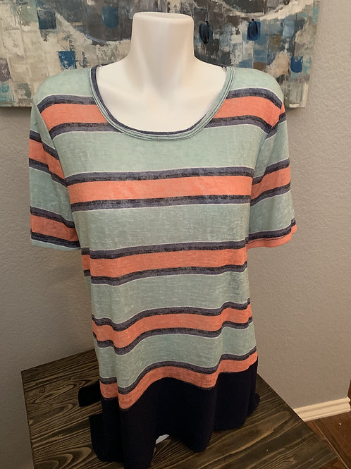 Plus Size Short Sleeve Top Mint and Navy Stripe with High Navy Accent on Back