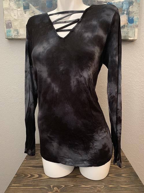 Plus Size Black Tie Dye Long Sleeve Top with Crisscross Neckline