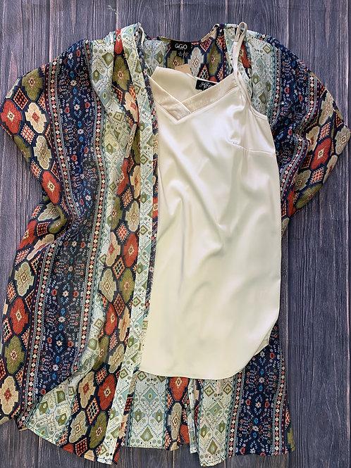 Boho Print Kimono Navy multi colored
