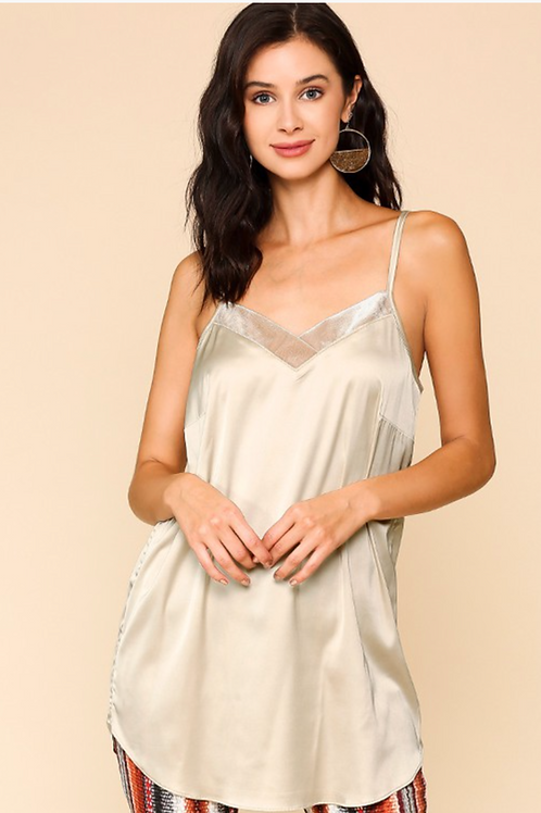 Velvet trimmed adjustable strap cami in champagne