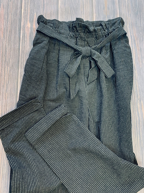 Black striped textured pants with paper bag waist and tie