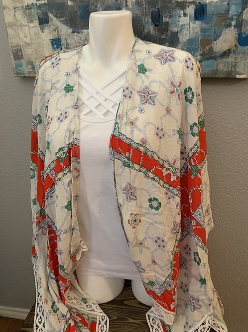 Ivory and Red Kimono Lace Edging